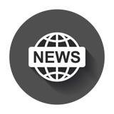 Επίπεδο διανυσματικό εικονίδιο παγκόσμιων ειδήσεων Απεικόνιση λογότυπων συμβόλων ειδήσεων στο BL Στοκ φωτογραφία με δικαίωμα ελεύθερης χρήσης