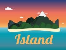 Επίπεδο διανυσματικό εικονίδιο χρώματος τοπίων νησιών ηλιοβασιλέματος βουνών ταξιδιού Στοκ εικόνα με δικαίωμα ελεύθερης χρήσης