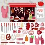 Επίπεδο διανυσματικό κατάστημα χασάπηδων, προϊόντα κρέατος, μαχαίρι κρεοπωλείων, εμπλοκή Στοκ Φωτογραφίες