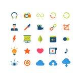 Επίπεδο διανυσματικό κινητό app Ιστού πακέτο εικονιδίων διεπαφών Στοκ φωτογραφία με δικαίωμα ελεύθερης χρήσης