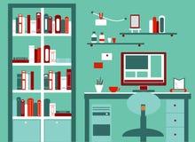 Επίπεδο διανυσματικό σχέδιο εγχώριων εργασιακών χώρων Γραφείο με Στοκ εικόνα με δικαίωμα ελεύθερης χρήσης