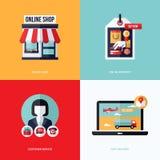 Επίπεδο διανυσματικό σχέδιο με το ηλεκτρονικό εμπόριο και τα σε απευθείας σύνδεση εικονίδια αγορών ελεύθερη απεικόνιση δικαιώματος