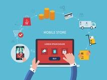 Επίπεδο διανυσματικό σχέδιο με το ηλεκτρονικό εμπόριο και on-line Στοκ εικόνα με δικαίωμα ελεύθερης χρήσης