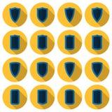 Επίπεδο διανυσματικό σύνολο ασπίδων Στοκ εικόνα με δικαίωμα ελεύθερης χρήσης