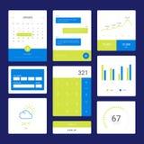 Επίπεδο διανυσματικό σύνολο γραφικών παραστάσεων και διαγραμμάτων Στοκ Εικόνα