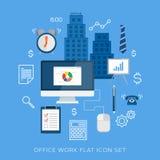 Επίπεδο διανυσματικό σύνολο εικονιδίων εργασίας γραφείων διανυσματική απεικόνιση