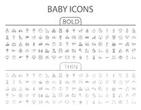 Επίπεδο διανυσματικό σύνολο εικονιδίων μωρών διανυσματική απεικόνιση