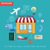 Επίπεδο διανυσματικό σύνολο εικονιδίων ταξιδιού και διακοπών ελεύθερη απεικόνιση δικαιώματος