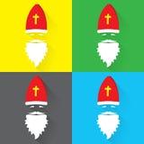 Επίπεδο διανυσματικό σύνολο σχεδίου προσώπου Αγίου Nicolaus στο πράσινο, μαύρο, κίτρινο και μπλε υπόβαθρο εικονίδιο χαιρετισμός κ διανυσματική απεικόνιση