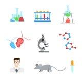 Επίπεδο διανυσματικό app Ιστού πειράματος εργαστηριακής έρευνας εικονίδιο: Εργαστήριο DNA Στοκ εικόνα με δικαίωμα ελεύθερης χρήσης