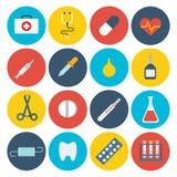 Επίπεδο ιατρικό app GUI υγειονομικής περίθαλψης σύνολο εικονιδίων εργαλείων σχεδίου βοηθητικό διανυσματική απεικόνιση