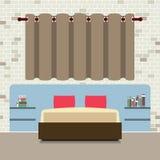 Επίπεδο διπλό κρεβάτι σχεδίου με Headboard απεικόνιση αποθεμάτων