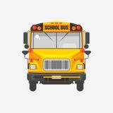Επίπεδο κίτρινο σχολικό λεωφορείο εικονιδίων Στοκ Εικόνα