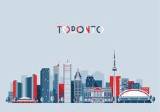 Επίπεδο καθιερώνον τη μόδα διάνυσμα οριζόντων πόλεων του Τορόντου Καναδάς Στοκ Εικόνα