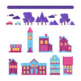Επίπεδο καθιερώνον τη μόδα σύνολο σπιτιών εικονιδίων κτηρίων Στοκ Εικόνα