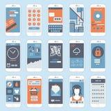 Επίπεδο κινητό διάνυσμα παραθύρων τηλεφωνικών διεπαφών οθόνης αφής Στοκ Φωτογραφίες