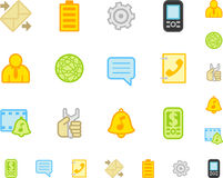 επίπεδο κινητό τηλεφωνικό σύνολο εικονιδίων Στοκ εικόνες με δικαίωμα ελεύθερης χρήσης