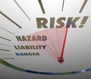 Επίπεδο κινδύνου κινδύνου ευθύνης μέτρου ταχυμέτρων λέξεων κινδύνου Στοκ Φωτογραφία
