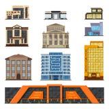 Επίπεδο μέτωπο κτηρίων ύφους σύγχρονο κλασικό δημοτικό, διάνυσμα σχεδίου πόλεων προσόψεων Στοκ φωτογραφία με δικαίωμα ελεύθερης χρήσης