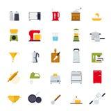 Επίπεδο μαγείρεμα σχεδίου και διανυσματική συλλογή εικονιδίων κουζινών Στοκ Φωτογραφία