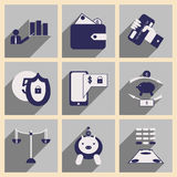 Επίπεδο με τα μοντέρνα επιχειρησιακά εικονίδια έννοιας σκιών Στοκ φωτογραφίες με δικαίωμα ελεύθερης χρήσης