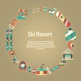 Επίπεδο πρότυπο κειμένων μορφής κύκλων εικονιδίων χειμερινής δραστηριότητας Στοκ Φωτογραφία