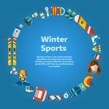 Επίπεδο πρότυπο κειμένων μορφής κύκλων εικονιδίων χειμερινής δραστηριότητας Στοκ Εικόνες
