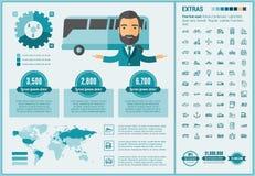 Επίπεδο πρότυπο Infographic σχεδίου μεταφορών Στοκ Εικόνες
