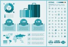Επίπεδο πρότυπο Infographic σχεδίου ταξιδιού Στοκ Εικόνα