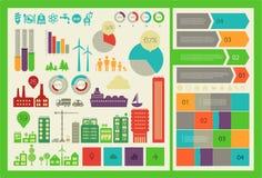 Επίπεδο πρότυπο infographics πόλεων eco Στοκ φωτογραφία με δικαίωμα ελεύθερης χρήσης