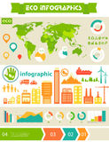 Επίπεδο πρότυπο infographics πόλεων eco Στοκ Εικόνες