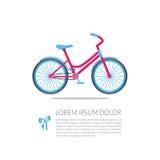 Επίπεδο ρόδινο ποδήλατο με τις μπλε ρόδες για ένα κορίτσι Στοκ φωτογραφία με δικαίωμα ελεύθερης χρήσης