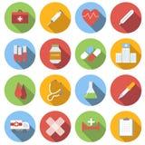 Επίπεδο στρογγυλό σύνολο εικονιδίων ιατρικής Στοκ Εικόνες