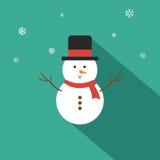 Επίπεδο σχέδιο απεικόνισης χιονανθρώπων διανυσματικό Στοκ Εικόνες