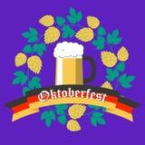 Επίπεδο σχέδιο αφισών Oktoberfest απεικόνιση αποθεμάτων