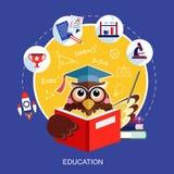 Επίπεδο σχέδιο για την έννοια εκπαίδευσης με μια κουκουβάγια Στοκ Εικόνες
