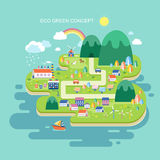 Επίπεδο σχέδιο για την πράσινη έννοια eco Στοκ Φωτογραφία
