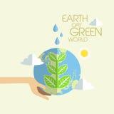 Επίπεδο σχέδιο για την πράσινη παγκόσμια έννοια γήινης ημέρας Στοκ φωτογραφίες με δικαίωμα ελεύθερης χρήσης