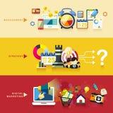 Επίπεδο σχέδιο για τη διαχείριση, τη στρατηγική και το ψηφιακό μάρκετινγκ ελεύθερη απεικόνιση δικαιώματος