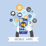 Επίπεδο σχέδιο για το κινητό σύνολο έννοιας apps Στοκ Φωτογραφία