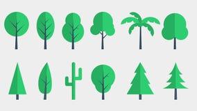 Επίπεδο σχέδιο εικονιδίων δέντρων Στοκ Εικόνες