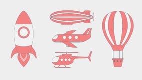 Επίπεδο σχέδιο εικονιδίων αεροπορικού ταξιδιού Στοκ Φωτογραφίες