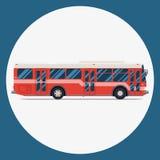 Επίπεδο σχέδιο εικονιδίων λεωφορείων διανυσματική μεταφορά πόλεων Στοκ φωτογραφία με δικαίωμα ελεύθερης χρήσης