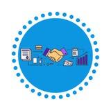Επίπεδο σχέδιο εικονιδίων συνέταιρων απεικόνιση αποθεμάτων