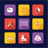 Επίπεδο σχέδιο εικονιδίων χόκεϋ Στοκ εικόνες με δικαίωμα ελεύθερης χρήσης