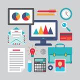 Επίπεδο σχέδιο - επιχειρησιακά διανυσματικά εικονίδια για τις διαφορετικές δημιουργικές εργασίες Στοκ φωτογραφίες με δικαίωμα ελεύθερης χρήσης