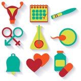 Επίπεδο σχέδιο, διανυσματικό σύνολο εικονιδίων γονιμότητας Στοκ Εικόνες