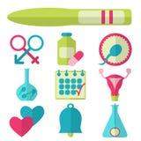 Επίπεδο σχέδιο, διανυσματικό σύνολο εικονιδίων γονιμότητας Στοκ φωτογραφία με δικαίωμα ελεύθερης χρήσης