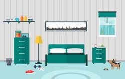 Επίπεδο σχέδιο κρεβατοκάμαρων διανυσματική απεικόνιση