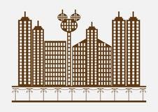 Επίπεδο σχέδιο να ενσωματώσει τη εικονική παράσταση πόλης Στοκ εικόνα με δικαίωμα ελεύθερης χρήσης